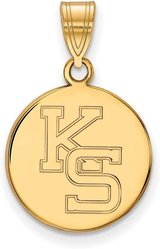 Sterling Silver Pendant 5//8 Inch Kansas State Medium