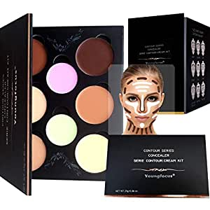 Youngfocus Cosmetics Cream Contour Best 8 Colors and Highlighting Makeup Kit - Contouring Foundation/Concealer Palette - Vegan, Cruelty Free & Hypoallergenic - Step-by-Step Instructions Included