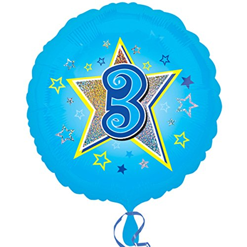 Anagram 18 Inch Circle Foil Balloon - Blue Stars 3 Holo