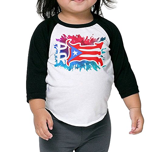 Watercolor Puerto Rico PR Flag Kids 3/4 Sleeve Raglan T Shirt Jersey Tee 2 Toddler
