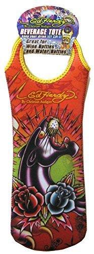 Audigier Bag - Ed Hardy By Christian Audigier Neoprene Reusable Wine Bottle Tote Gift Bag, Tattoo for Men, Women (Panther Black)