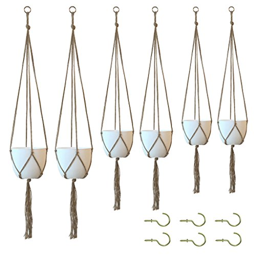 Rope Corner - Amgate 6 Pack Hanging Planter Plants Jute Rope with 6 Ceiling Hook (No with Pot) - Macrame Pot Holder Plant Hanger Stand Accessories for 3 Different Sizes - 48