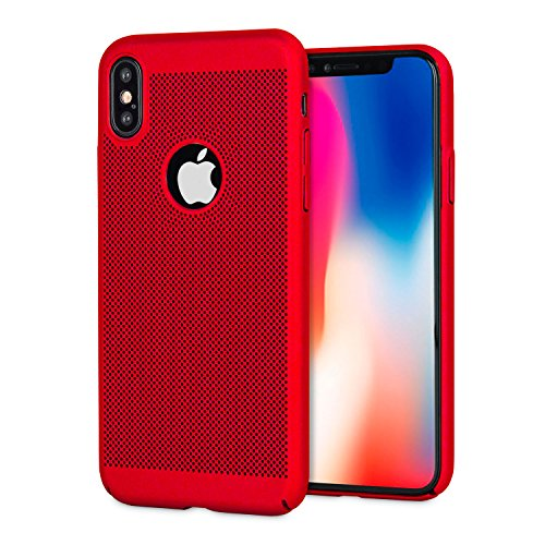 iPhone X Mesh Case - Heat Dissipation / Cooling Design - Olixar Meshtex - Tough Protective Case / Shock + Drop Protection - Wireless Charging Compatible - Red