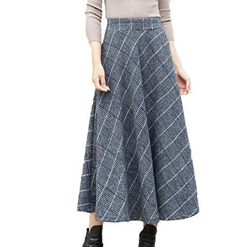 Femmes Taille Plaid Taille Haute Swing Zipper A-Line Taille Automne Hiver Taille Maxi Jupe Grey