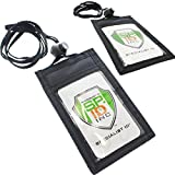 ticket pouch lanyard - 2 Pack - Slim ID Badge Holder Neck Wallets with Vertical Front Display Window, Back Zipper Pocket & Perfect Length Lanyard by Specialist ID (Black)