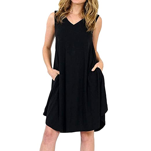 7ee4223a6db Women Summer Sleeveless Casual V Neck Swing Dresses Mini Dress with Pocket  (S