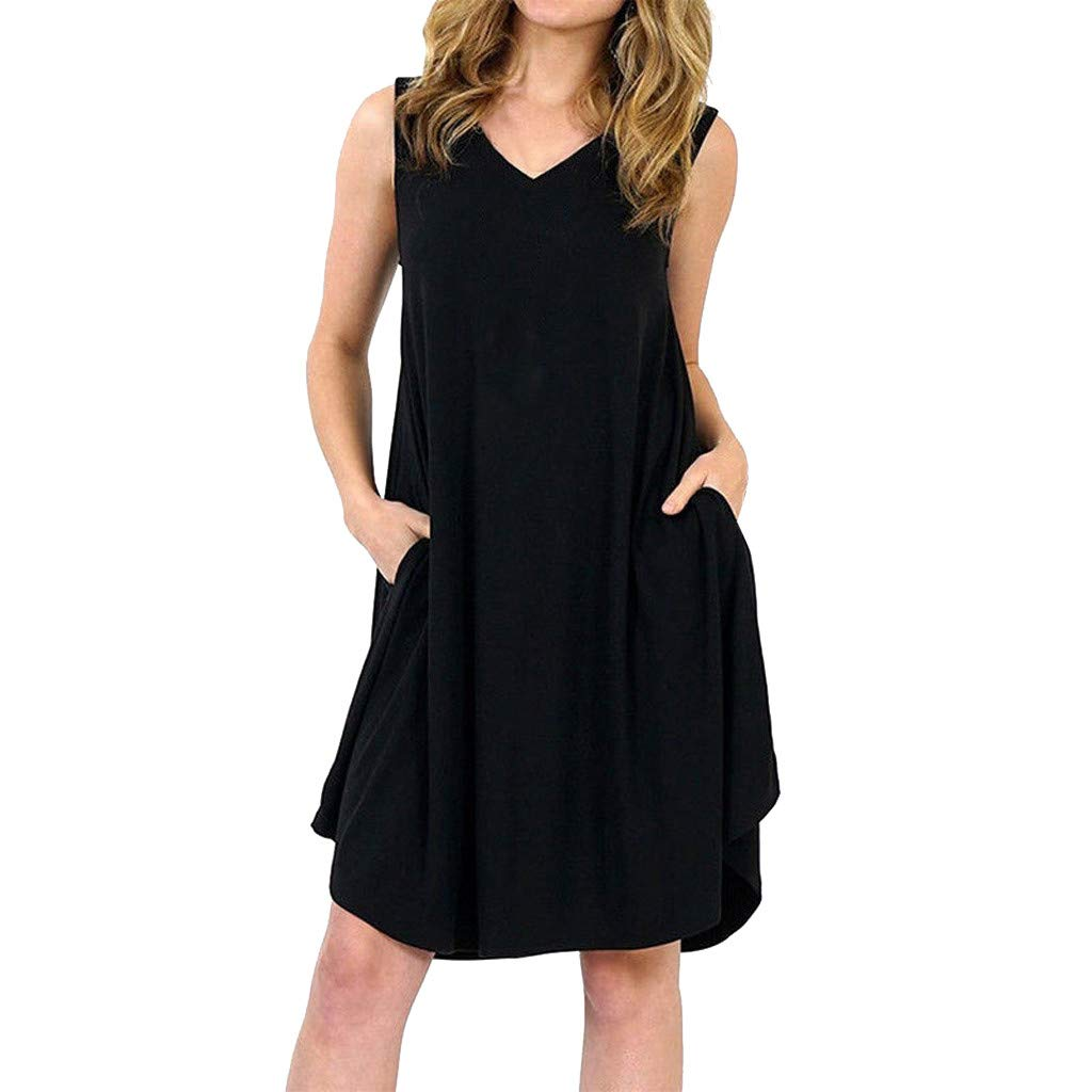 Keliay Dress for Women Summer,Plus Size Women Ladies Sleeveless Swing Dress Skater Midi Flared Summer Sundress Black