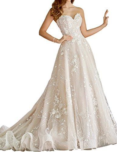 Hochzeitskleider Damen Elegant Applikationen Prinzessin Perlen T¨¹ll Spitze Tr Weiß Brautkleider Bestickt Topquality2016 gerlos Luxus