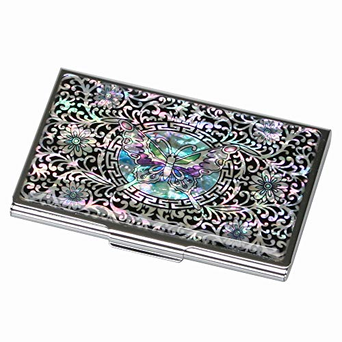 Mother of Pearl Black Purse Pocket RFID Blocking Protection Business Credit Id Name Card Holder Case Metal Stainless Steel Engraved Slim Money Wallet with Butterfly and Arabesque Design