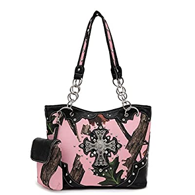 Pink Forest Camo Western Purse with Cross Bling, Cellphone Holder and Concealed Carry Pocket