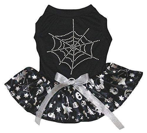 Petitebella Puppy Clothes Dog Dress Spider Web Black Top Silver Pumpkin Tutu (XX-Large) (56 Halloween Spider)