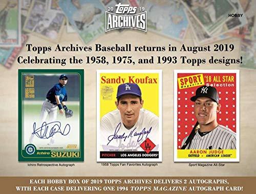 2019 Topps Archives Baseball Hobby Box (24 Packs/8 Cards: 2 Autographs)