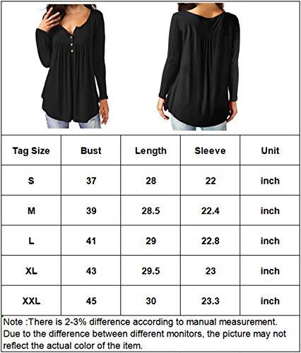 Eanklosco Damen Tops T-Shirts mit V-Ausschnitt Swing Ruffle Blusen Tunika mit Knöpfen Casual Flowy Lange Ärmel (M, Dunkelbraun)