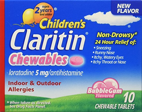 Chewable Tablets Bubble Gum (Children's Claritin 24 Hour Non-Drowsy Allergy  Bubblegum Chewable Tablet, 5 mg, 10 Count (Pack of 6))