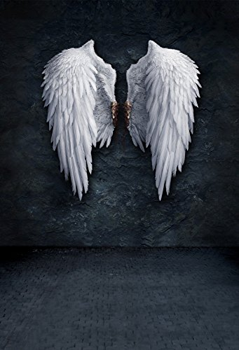 (OFILA Angel Wings Backdrop 5x7ft Grunge Wall Party Background Wedding Bride Portraits Fantasy Photos Fashion Magazine Model Shoots Girls Photographic Digital Video Studio Props)