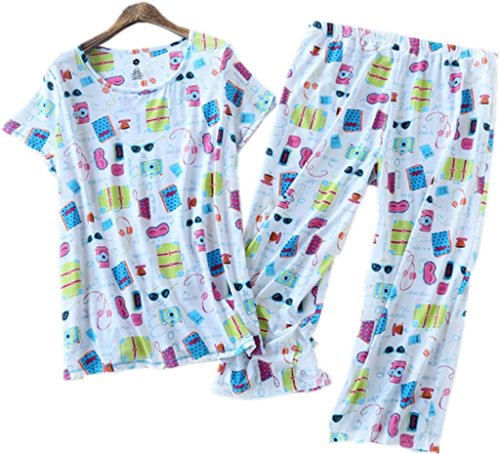 Amoy madrola Women Cotton Sleepwear   Short Sets   Pajamas Set SY215-White-L  - Buy Online in Oman.  7bca5d324