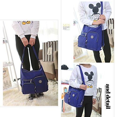 Multi Backpack Blue Crossbody Ladies Purse Hobo Artwell Convertible Shoulder for Pockets Satchel Women Handbag Bag Bag wBqYqXzZ