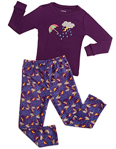 Leveret Fleece & Cotton 2 Piece Pajama Storm Purple 3 Years