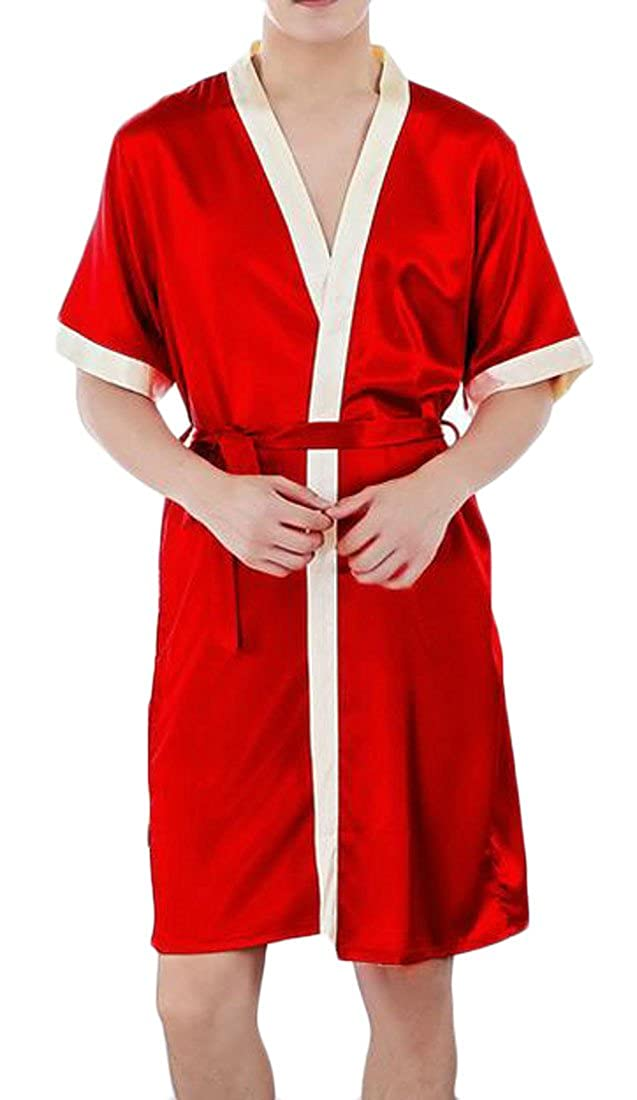 Cromoncent Men Summer Short Sleeve Soft Satin Kimono 睡衣腰带 Bathrobe Robe