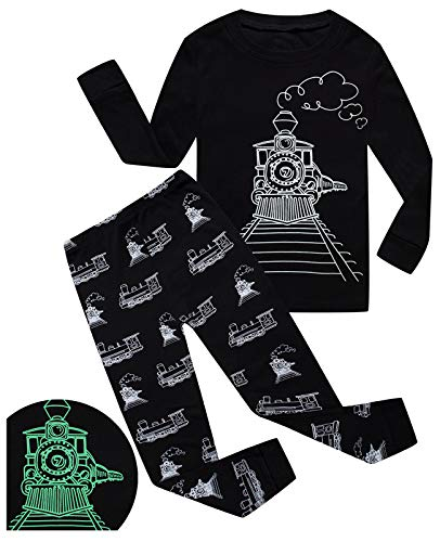 Little Pajamas Boys Sleepwear Train Glow-in-The-Dark Toddler Pjs Kids Clothes Size 2T -