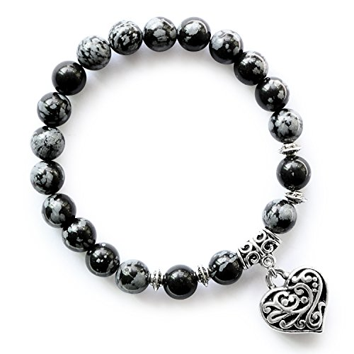 MHZ JEWELS Snowflake Obsidian Beads Bracelet Black White Natural Stone Heart Charm Stretch Bracelets for Women ()