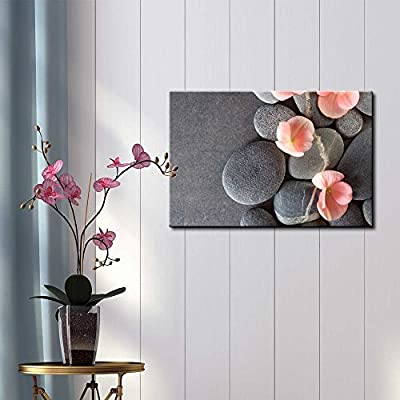 Peach Colored Flower on Smooth Zen Stones - Canvas Art Home Art - 12x18 inches