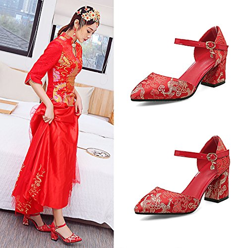 Shoes Sandals Bride Red VIVIOO Shoes National High Show Heel Wedding Coarse Women'S Prom Style Wind 5Cm Heel 5 Shoes Shoes Style 6 Heeled Chinese 5UqwfzU