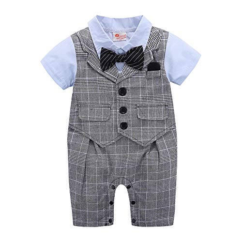 Baby Boy Gentleman Outfit,Tie Formal Romper Infant Tuxedo Dress Suits (90(12-18 Month), Gray Stripe/Blue)