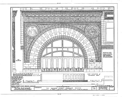 Bank Chicago Lasalle (historic pictoric Blueprint Diagram HABS ILL,16-CHIG,36- (sheet 1 of 5) - Chicago Stock Exchange Building, 30 North LaSalle Street, Chicago, Cook County, IL 14in x 11in)