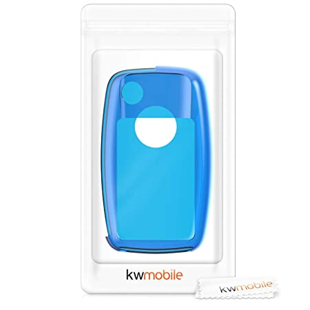 kwmobile Car Key Cover for VW Skoda Seat - Soft Crystal TPU Protective Key Fob Cover for VW Skoda SEAT 2-3 Button Car Key - Blue/Transparent
