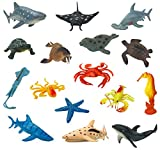 """Lot of 15 Large Assorted Realistic Plastic Sea Animals. Set includes dolphin, stingray, squid, starfish, turtle, sea turtle, sea horse, crab, octopus, lobster, seal, walrus, and three different sharks! Sizes Range from 4.5"""" - 7.5"""". These are large si..."""