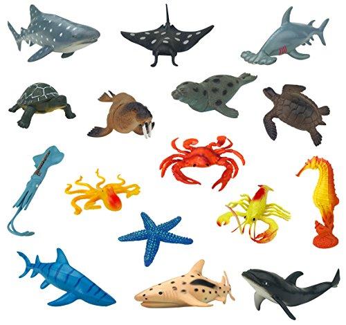 Large Sea Animals Ocean Marine Sea Creatures Plastic Toy Figures (16 Piece Set)