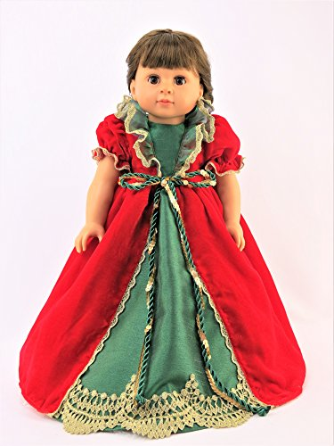 (Red and Green Victorian Dress with Gold Trimmings-Fits 18