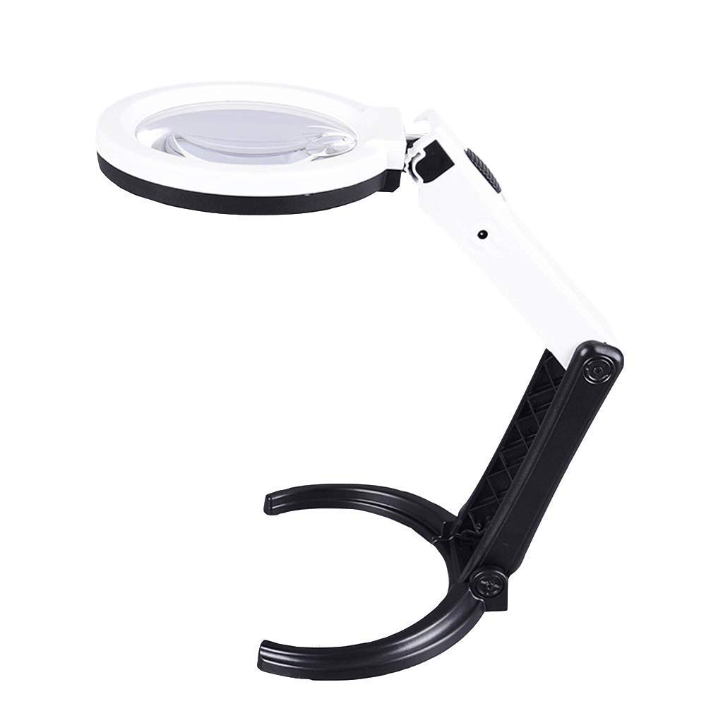 Loupe 2.5X 8X Desktop Handheld Illumination Magnifier with 10 LED Lights HD Lens for Book Reading Jewelry Identification Watches DIY Crafts Engraving and Restoration 90mm Magnifying Glass by ElectroOptix