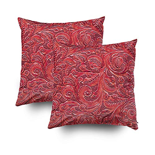 Zusini Christmas Set of 2 Cotton Case Cover with Zippered Inside for Home Sofa Decorative Throw Cushion Covers Décor House,18X18Inches Floral Faux Tooled Leather deep ()