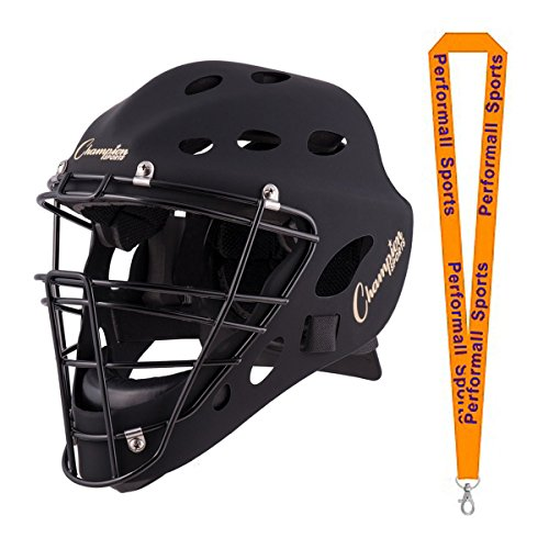 Champion Sports Baseball Adult Hockey Style Catcher's Mask Black with 1 Performall Lanyard CH550-1P by Performall Sports Baseball Protectve Gear