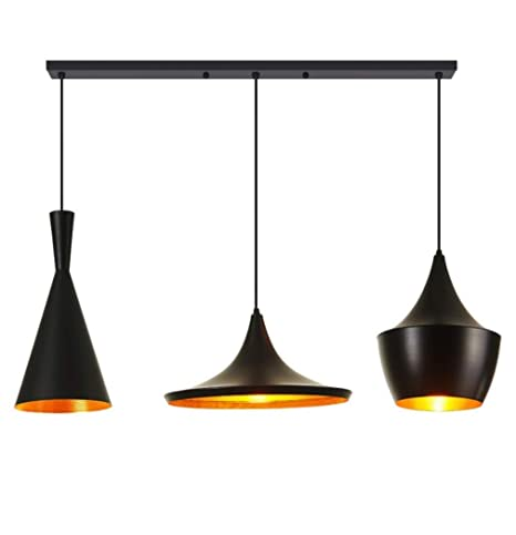 colgante Luces Negro retro 3Light estilo industrial E27 iuTwOPXZk