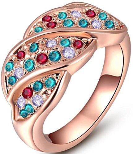 - TEMEGO Rose Gold Vintage Style Austrian Crystal Colorful Ring,Leaf Design Fashion Cocktail Statement Ring