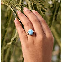 Larimar Ring Beautiful jewelry March birthstone Simple jewelry Larimar Jewelry healing Stone Christmas gift