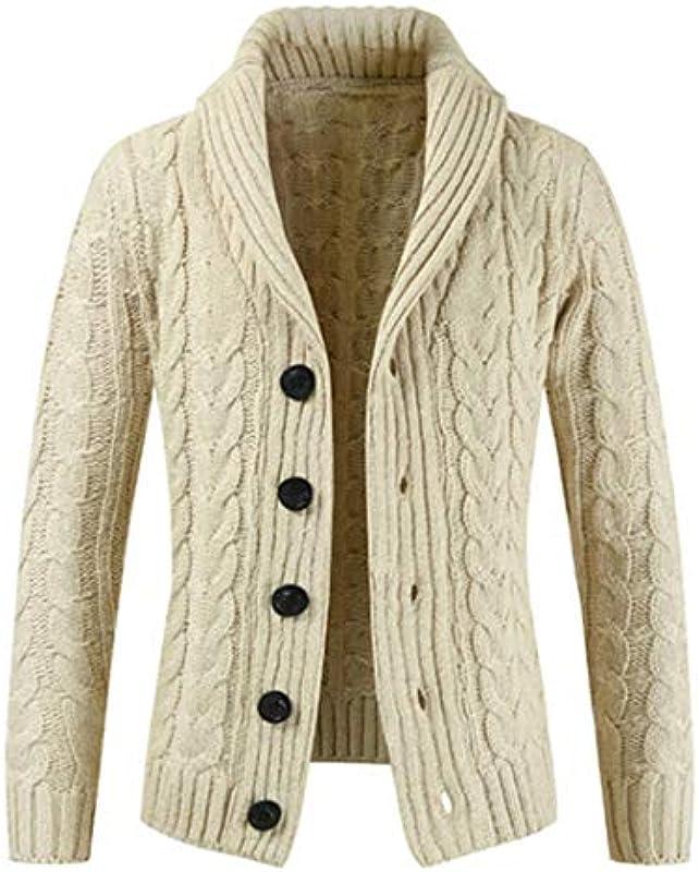 wkd-thvb Męskie Langarmpullover Revers Cardigan Sweater: Odzież