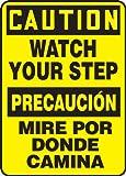 Accuform SBMSTF661VA Aluminum Spanish Bilingual Sign, Legend ''CAUTION WATCH YOUR STEP/PRECAUCION MIRE POR DONDE CAMINA'', 14'' Length x 10'' Width, Black on Yellow