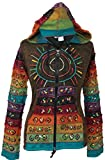 Shopoholic Fashion Women's Sun Patchwork Pixie Hippy Ribs Hoodie Faded Jacket (Green,3XL)