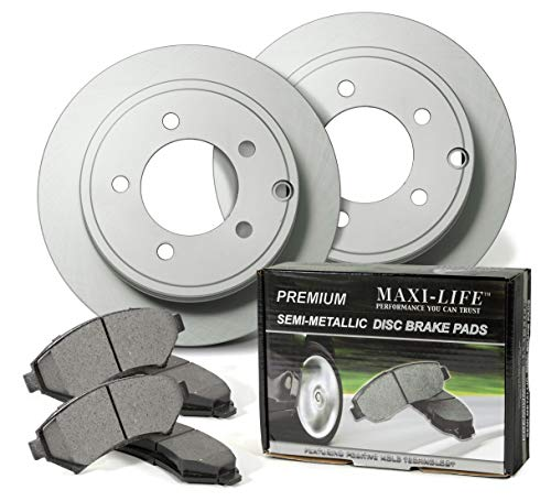 Front Geomet Coated Rotors and Premium Semi Metallic Pads featuring Triple Layer Wolverine Shims BK11547CM | Fits: Eclipse Galant ()