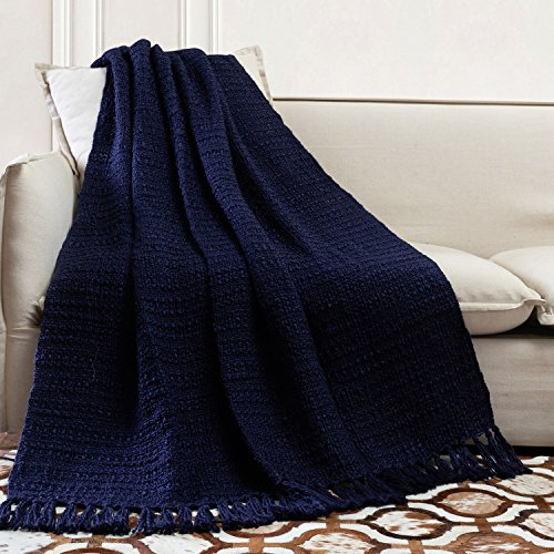 TINA'S HOME Soft Warm Woven Knit Throw Blanket for Sofa Couch Bed Decor (50 x 60 inches, Navy Blue) (Blanket Navy Knit)