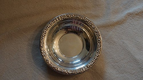 Vintage Silver Plated Candy Dish Bowl w/ Gold Floral Flower Design - Sheridan