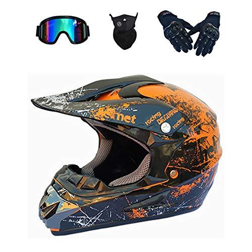 XUEER Motorcrosshelm, motorcrosshelm voor mountainbike, ATV, BMX, downhill, offroad, fullface helm, endurohelmen voor…