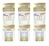 LOreal Paris Age Perfect BB Cream Instant Radiance, 2.5 Ounce - 3 Pack + FREE Luxury Luffa Loofah Bath Sponge On A Rope, Color May Vary