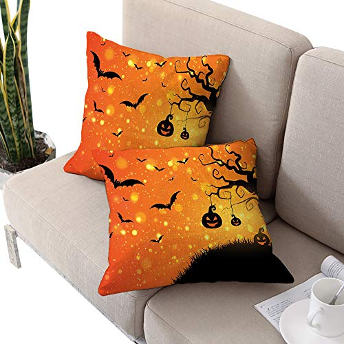 Halloween Square Lumbar Cushion Cover,Magical Fantastic Evil Night Icons Swirled Branches Haunted Forest Hill Orange Yellow Black W24 xL24 2pcs Cushion Cases Pillowcases for Sofa Bedroom Car