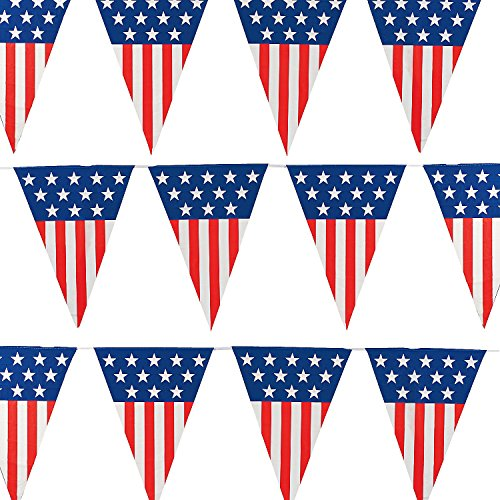 Extra Large American Flag Pennant Banner 24feet/12 Flags