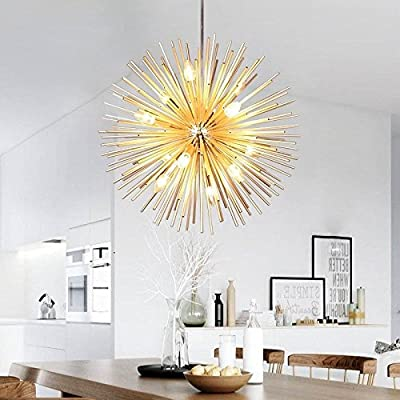 Golden Sputnik Chandelier Ceiling Light Lamp Pendant Lighting Fixture E14 Light (Dia 22-Inch) - Style: Modern Dia 22 Inch, Light Bulbs:12pcs * LED candelabra bulbs with E14 silver base (Bulbs Included) Perfect for use in living rooms, bedrooms, hotel rooms, restaurants, and kitchens - kitchen-dining-room-decor, kitchen-dining-room, chandeliers-lighting - 51bNdfxLVSL. SS400  -